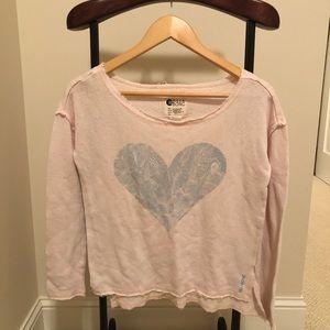 Pink Billabong top with Blue Heart